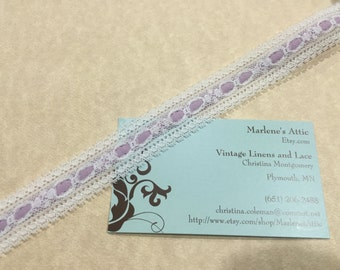 1 yard of 7/8 inch White and Purple Chantilly Lace Trim for sewing, crafts, valentines, housewares by MarlenesAttic - Item 6N