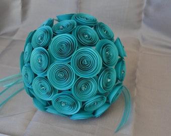 Wedding Bouquet with Turquoise Flowers, Organza Ribbon, and Satin. Ramo de boda Turquesa