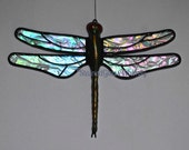 "Stained Glass DRAGONFLY Suncatcher, ""Northern Lights"", Clear Rainbow Iridescent, Hand-Cast Metal Body, USA Handmade, Iridescent Dragonfly"