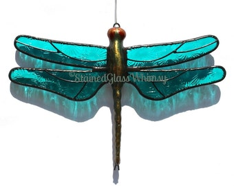 Stained Glass Turquoise DRAGONFLY Suncatcher, Moonlight Turquoise, Textured Pressed Glass, Metal Body, USA Handmade, Turquoise Dragonfly