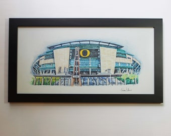Autzen Stadium Oregon Ducks Poster Man Cave Art Print