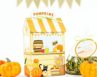 Pumpkin Stand Printable Gift Box, DIY Pumpkin Favor Box, Thanksgiving Paper Craft, Instant Digital Download