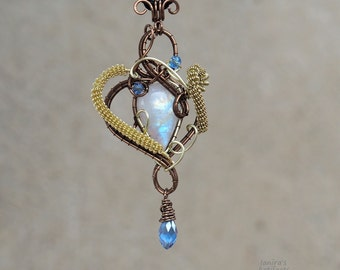Moonstone wire wrapped pendant/Rainbow moonstone/Gemstone pendant/ooak/gift for her/valentine's day gift/rare gemstone/yoga jewelry/handmade