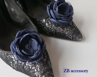 Small navy blue flowers hair clips, Bridal shoe clips, Bridesmaids acessories, Weddings Flower girls dress sash flowers Something blue Set