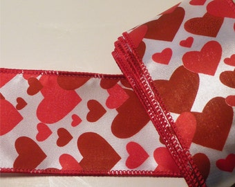 "Ribbon, Heart Ribbon, Red Ribbon, Wire Ribbon, Red Heart Ribbon, Fabric Ribbon,  2-1/2"" x 12 Feet"
