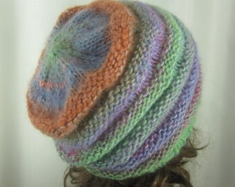 Hand Knit Sherbet Tones Beanie - Soft Hat - Spring Hat  - Winter Accessories - Soft Colorful Fashion