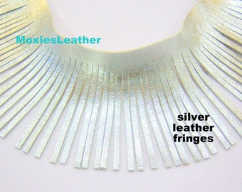 "leather fringes metallic silver -real leather silver color - genuine leather silver 6"" fringes- moxiesleather"
