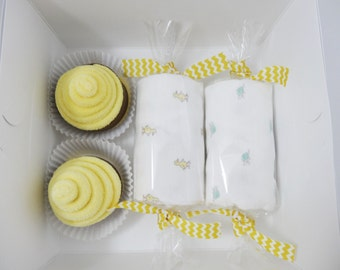 Neutral Baby Gift - Washcloth Cupcakes Gift Box - 6 month