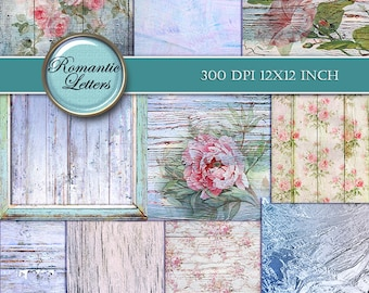 Shabby chic Digital Scrapbook Paper pack Shabby Chic rose digital background floral digital scrapbook printable paper Shabby paper floral