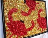 Custom Order for Wendy  Mardi Gras bead crabs mosaic