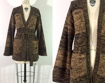 70s space dyed sweater / 1970s kettle dye cardigan / stripe southwest boho sweater  / knit long bell sleeved wrap sweater