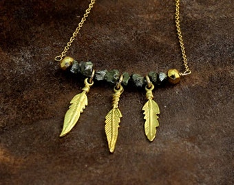 Rough Pyrite Bar Necklace. Three Feathers with Pyrite Nuggets. Gold Fill or Sterling Silver. NM-2008