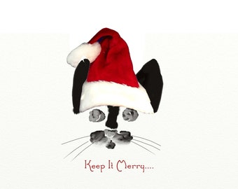 CUSTOM Tuxedo Kitty Santa Christmas Card Sale~10 for 35~Tuxedo Cat~Kitty Lover Greeting Card~CAT Christmas Card~Cat Lover Christmas Card