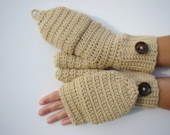 Convertible Fingerless Mittens, Oatmeal Texting Mittens, Crochet Womens Flip Top Mittens, Winter Fashion, Cycling Mittens, Stylish Gloves