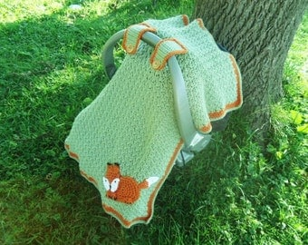 Fox Canopy / Cover for Baby Car Seat / Carrier in Soft Green & Orange Handmade Crochet