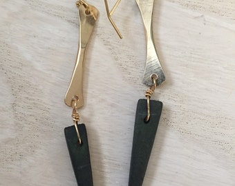 Black wooden spike Earrings, 14k gold fill black spike earrings, long gold and black earrings