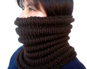 RESERVED Dark Chocolate Brown Wave   Cowl Super Soft  Neckwarmer Women / Men Chunky Pure Merino Wool Cowl NEW