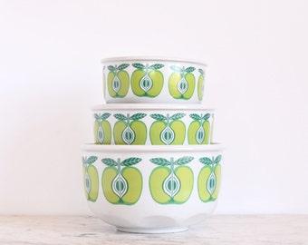 Arabia Finland Pomona Apple Bowl Set of 3 Ulla Precope Raija Uosikkinen