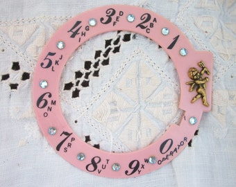 Rhinestone  'See A Dial' Fancy ~ PINK with CHERUB ~ Rotary Dial Cover ~  Novelty Style with Rhinestone Bling ~ Pin Up Girls Phone Decor