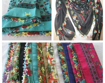 Fuchsia floral-Turkish-Turkey oya Scarf- cotton gauze-needle lace- square hair scarf-hijab-Women's scarves-handmade unique scarf scarves2012