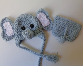 Newborn Crochet Elephant Hat and Diaper Cover photo prop baby boy girl