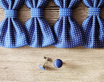 Royal Blue Bow Tie - White Dot Dots Bowtie - Pre-tied Double Bow - Men Baby Boy Toddler Child