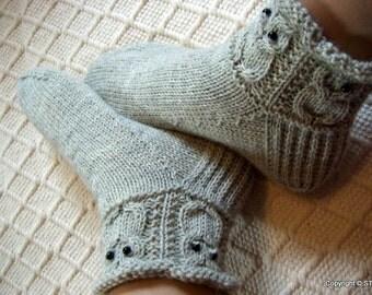 Gray owls -Socks/slippers Womens Mens Warm cosy wool socks light gray Handknitted Gift idea Winter Machine washable wool Handmade in Finland