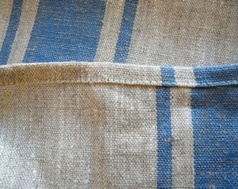 2 Natural Linen Hand / Face Towels - Blue Stripe- Pure Flax- Bathroom Linens - Handtuch Linens, Leinen, Lin