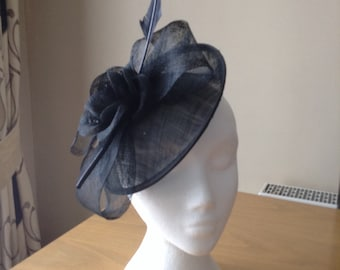 Black Sinamay and Feather Disc Fascinator on a clip races, weddings, Kentucky Derby, Royal Ascot, Melbourne Cup