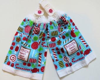 Santa Don't Count Calories Crochet Top Kitchen Hand Towel Set of 2