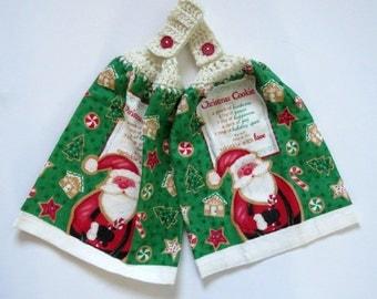 Christmas Cookies Crochet Top Kitchen Hand Towel Set of 2