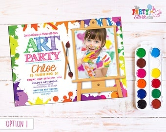 Art Invite with Photo, Paint Invite Printable