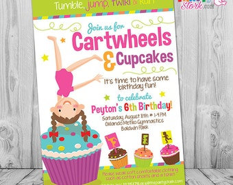Gymnastics Birthday Invitation, Cartwheels and Cupcakes Birthday, Gymnastics Party, Gymnastics Party Invitation