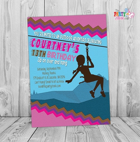 Zipline Invitation Custom Printable Teen Girl Birthday Party – Teenage Girl Party Invitations