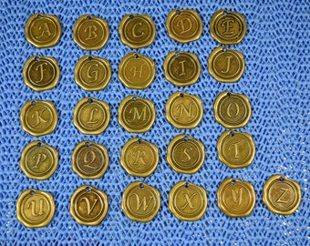Antique  Bronze Wax Seal Initial Charms......Add On Item for Antique Bronze Expandable Bracelets