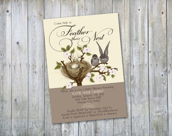 Cute lil birds feather nest shower invitation - Printable