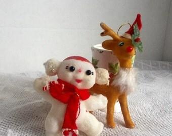 CIJ Sale Vintage Reindeer and Snowman Felted Christmas Ornaments