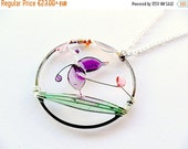 AUGUST SALE 20% Spring boho necklace, purple butterfly pendant, resin jewelry, pastel jewelry, wire round pendant