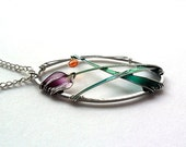 Flower pendant, purple tulip oval pendant, spring necklace, stained glass jewelry