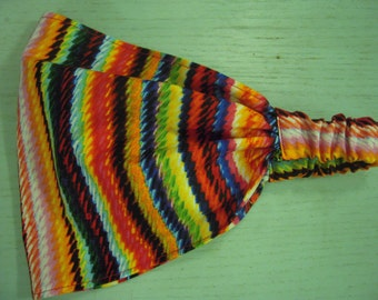 Electric Rainbow Stripe Wide Headband - by FreCkLes GarDeN – Dreadlock Gypsy Band, Yoga Headwrap Doorag Bandana Kitchenwear, Festival Style