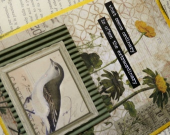 "ALL OCCASION CARD Blank Inside ""What Seems Ordinary is Often the Extraordinary"" Bird Flowers Yellow Greens Grey"