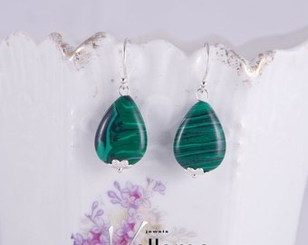 SALE Small earrings with beautiful green striped malachite stones, sterling silver ear rings