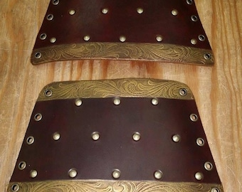Leather Armor Bordered Cuffs Bracers