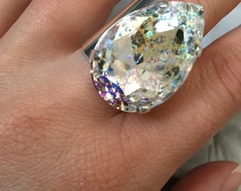 Large Swarovski crystal ab lace patina silver filled adjustable ring