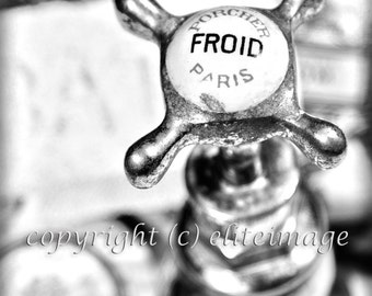 PAIR of TWO:  Hot (Chaud) and Cold (Froid) French Bathroom Faucet Handles Antique Vintage Feel - 2 Black&White Photographic Prints (P11G)