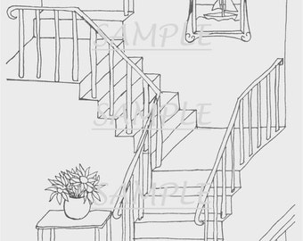 Coloring Page for Adults: 'Staircase' (PDF file)