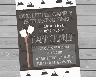 Camping Theme Birthday Party Invitation - Boy
