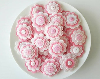 BABY GIRL x3 Handmade Layered Felt Flower Button Embellishments, Felt Applique,Pinks and White