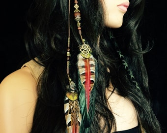 Crimson Heart Feather Hair Clip