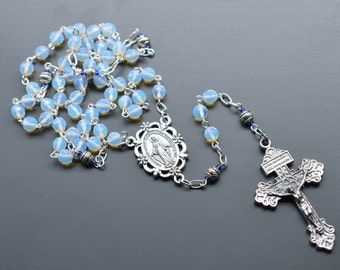 Opalite Rossary Necklace, Rossary for Men, Silver Blue Czech Glass Catholic Rosary Necklace, Traditional 5 Decade Catholic Rosary